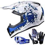 GLX youth & kids Motocross/ATV/Dirt Bike 3-pc Gear Combo - Helmet, Gloves & Goggles - DOT Certified (Large, Modern Blue & White)