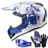 GLX Youth & Kids Motocross/ATV/Dirt Bike 3-pc Gear Combo Set - Helmet, Gloves & Goggles - DOT Certified (Medium, Modern Blue & White)