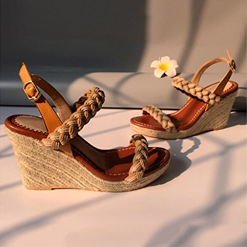 Shoes 5cm Wedge Sandals Women's Fashion New Summer High Straw Brown Platform Toewaterproof Heel Open 9 HOwYqOp