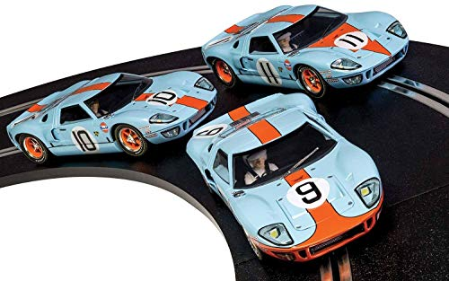 Scalextric C3896A Legends Ford GT40 Le Mans 1968 Gulf Triple Pack Slot Cars 1/32 Scale, Limited Edition from Scalextric