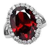 HUGE Garnet Red CZ White Gold Plated 925 Sterling Silver Glamorous Cocktail Ring