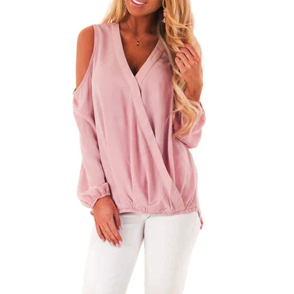 fde041a82d78 Amazon.com: Fainosmny Womens Shirts Loose Tops Sexy Strapless Blouse V-Neck Solid  Tunic Tees Fashion Long Sleeves T-Shirt Sweatshirt: Clothing