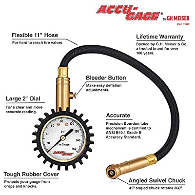 Accu-Gage RH160XA Professional Tire Pressure Gauge with Protective Rubber Guard, Angled Swivel Chuck, 160 PSI: Automotive