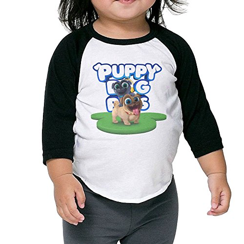 Puppy Dog Lovely Pals Unisex Kids Novelty 3/4 Long Sleeve Cotton T-Shirt Black 3 Toddler -