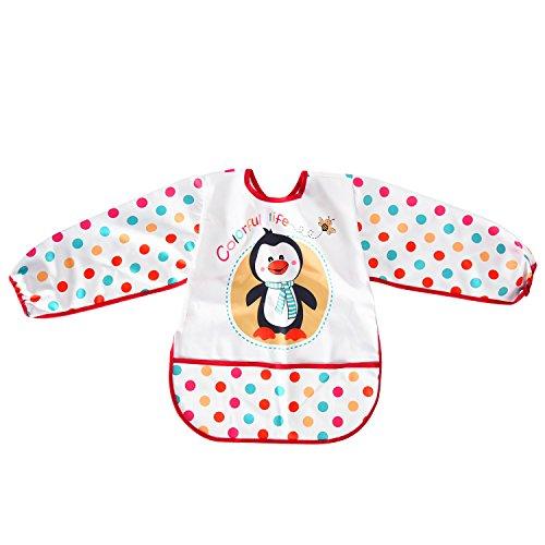 Mudder Baby Long Sleeve Bib Kids Waterproof Bib Cute Penguin Art Smock (Red)