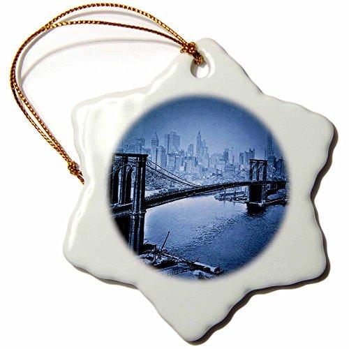 (Sandy Mertens Vintage 1915 Brooklyn Bridge in Blue Snowflake Porcelain Ornament, 3-Inch)