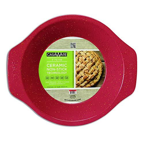 casaWare Ceramic Coated NonStick 9-Inch Pie Pan (Red Granite)