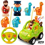 Remote Control Car Dino Toys Set - with Dinosaur Figures, Watchman & Caveman - Includes 4 Dinosaur Toys for 3 Year Olds & Up   RC Cars for Boys Learning Toys with Plastic Dinosaur for Kids by Zetz