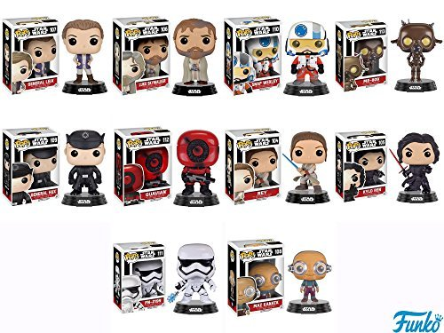 TFA General Leia, Bearded Luke Skywalker, Snap Wexley, CO-74 Protocol Droid, General Hux, Guavian, Rey with Lightsaber,Unmasked Kylo Ren, FN-2199 Trooper, Maz Kanata Pop! Vinyl Figures Set of 10