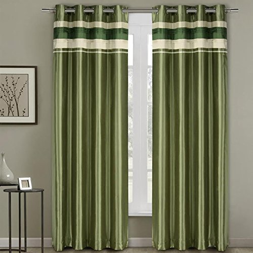 Milan Sage Top Grommets Blackout Multiple layers Fabric, Window Curtain Panels, 54×84 inches Single Panel, by Royal Hotel