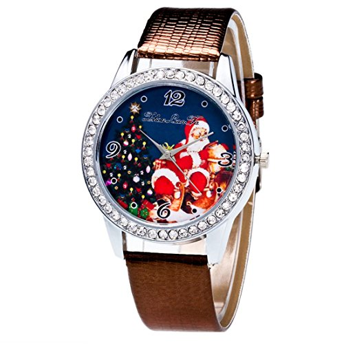 HANYI Christmas Holiday Gifts Artificial Leather Candy Color Watch Band With Santa Claus Tree and Crystals Dial Quartz Analog Wrist Watch (Gray)