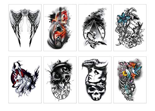 Spestyle 8pcs/package Assorted Halloween Temporary Tattoo for men women Cute Designs Stick on Adult Tattoos Angel/Skull/Fish/Spider/Devil/Flower/Wolf ()