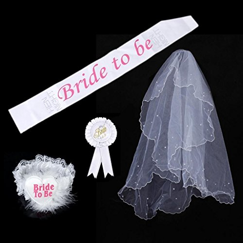 HOMEDA Bride to be Decoration Set for Bachelorette Party Rosette Mantilla Headband for Bridal Shower Party-Cascade Bridal Wedding Veil with Comb,Bride To Be Sash,Rosette Badge and (Party City In Houston Tx)