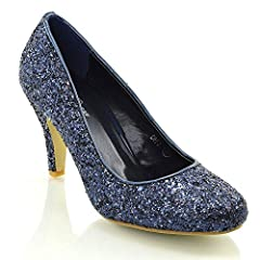 Essex Glam Womens Mid Low Heel Party Navy Sparkly Glitter Court Shoes 9 B(M) US