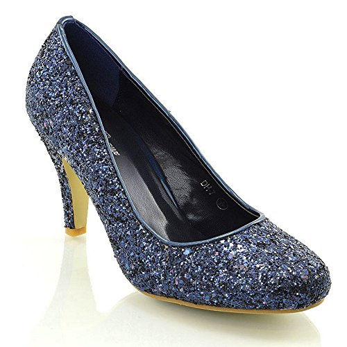 ESSEX GLAM Womens Mid Low Heel Party Navy Sparkly Glitter Court Shoes 9 B(M) ()