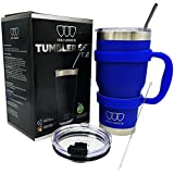 30 oz Tumbler - Stainless Steel 6-Piece Tumbler Set (7 COLORS: BLACK, BLUE, PINK, SEAFOAM, SS, WHITE) Ultra-Tough Double Vacuum Insulated Stainless Steel Travel Tumbler Bundle Straw Lid Handle (Blue)