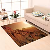 Nalahome Custom carpet scape from the Movie Fantastic Fictional Galaxy War Themed Pattern Sunset Mountains Brown Yellow area rugs for Living Dining Room Bedroom Hallway Office Carpet (36''x118'')