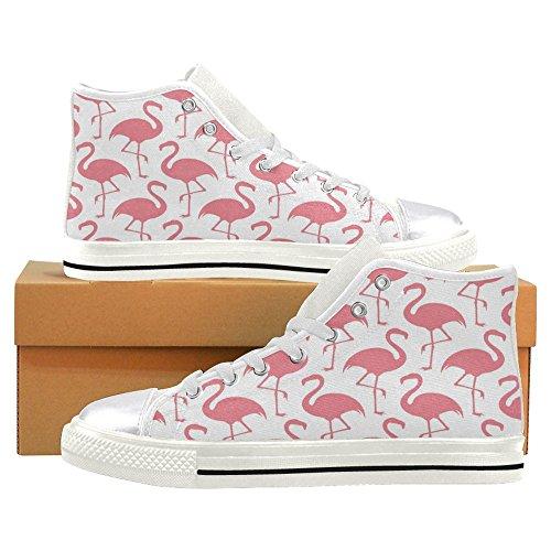 Rentprint Dames Canvas Schoenen Hoge Sneakers Sneakers Lace Up Sneakers Mode Vorm Flamingos Wit