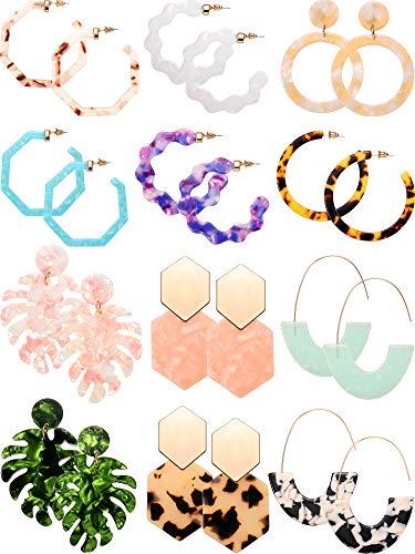 - 12 Pairs Acrylic Hoop Earrings Tortoise Earrings Mottled Statement Earrings Polygonal Drop Earrings for Women Girls (Style 3)