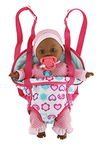 "13"" Dark Skin Baby Doll With Take Along Pink Doll Carrier and Pink Pacifier, Doll makes Baby Noises - 51MxvH46eCL - 13″ Dark Skin Baby Doll With Take Along Pink Doll Carrier and Pink Pacifier, Doll makes Baby Noises"