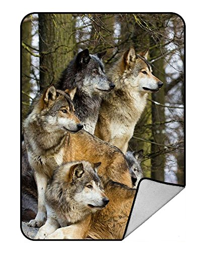 Custom Wolfs Wild Animal Fleece Blanket Crystal Velvet and Lambswool Sherpa Throw Blanket 58x80 inches by DKHT