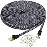 Cat 7 Ethernet Cable 50 ft, MORELECS Nylon Braided Cat 7 Internet Cable 50 ft Ethernet Cable RJ45 Network Cable Cat7 LAN Cable for PC Mac Router Laptop