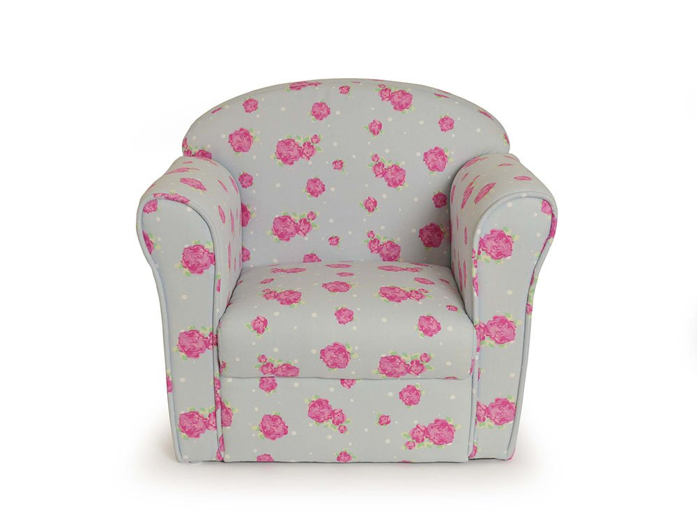 Kids Chair Pale Blue with Pink Flowers Sue Ryder