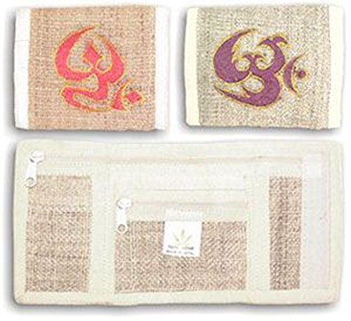 NFP-14-406-Hemp-Tri-Fold-Wallet-Embroidered-Om-Red