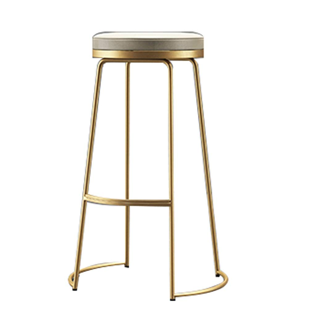 gold 75cm MILU Bar Chair Modern Style Chair Footrest High Stool Upholstered Dining Chairs Bar Stool Metal Breakfast High Chair Counter Chairs Kitchen Bar Stool Cylindrical Metal Leg Bar Chair Dining Chair Kitch