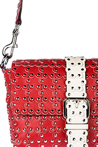 Red Valentino borsa donna a spalla shopping in pelle nuova flower puzzle rosso