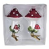 Kurt Adler 2-Piece Glass Clip-On Mushroom Ornament Set, 4-Inch