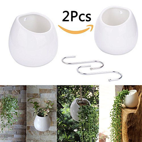 Flower Pot Wall - Supla 2 Pack Hanging Planter Wall Planter White Ceramic Round Pots Plant Containers Planter Holder Flower Pots Succulents Planter hanging plant pot with free s hook