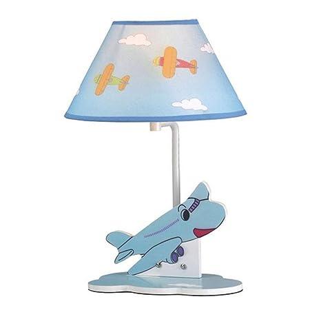 Niño de dibujos animados azul avión de lámpara de escritorio ...