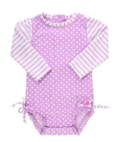 RuffleButts Baby/Toddler Girls Lilac Polka Dot One Piece Ras