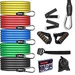 AGM-Set-di-Fasce-di-Resistenza5-Bande-Elastiche-in-Lattice-con-ManiglieResistenza-a-100-LB-Elastici-Fitness-per-Attrezzi-da-Fitness-Yoga-Pilates