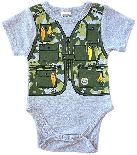 CHUBS Gone Fishing, Baby Camo Bodysuit, Funny Infant Creeper (3-6M)