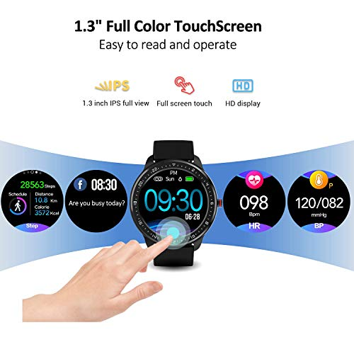 """DoSmarter Fitness Watch, 1.3"""" Touchscreen Smart Watch with Heart Rate Blood Pressure Monitor,Waterproof Fitness Tracker with Sleep Tracking, Pedometer, Calories Counter for Women Men 2"""