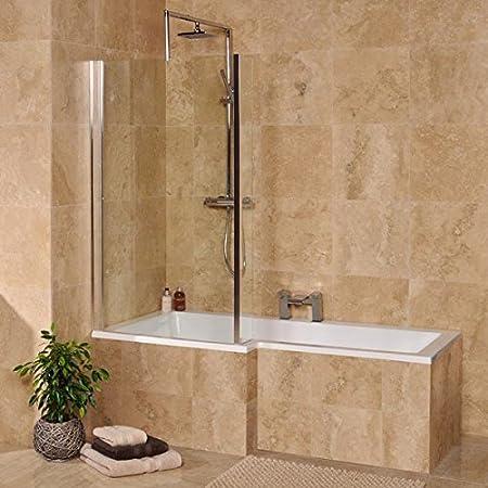 Shower Bath Tub L Shape Acrylic White 1500 Left Hand Bathtub ...