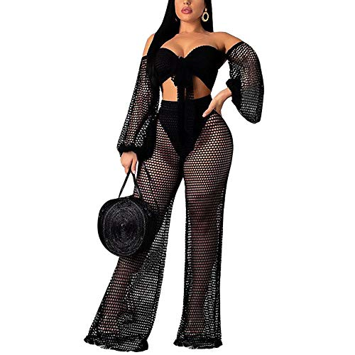Oubaybay Women's Mesh Jumpsuits Bikini Wrapped Chest Lanterns Sleeves Wide Leg Pants Two Piece Outfits Black XL