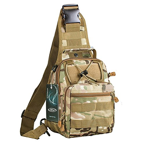 G4Free Outdoor Tactical Backpack,Military Sport Pack Shoulder Backpack for Camping, Hiking, Trekking,Rover Sling Pack Chest Pack(CP Camouflage)