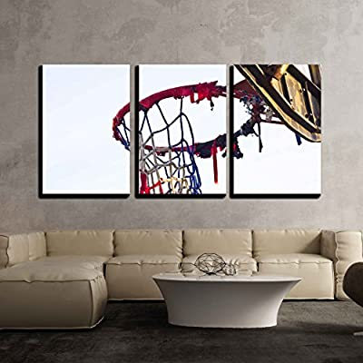 3 Piece Canvas Wall Art - The Old Basketball Hoop - Classic Home Art - Ready to Hang - 16
