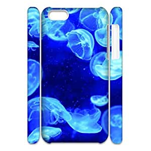 3D iPhone 5C Case,Blue Jellyfish Bioluminescence Hard Shell Back Case for White iPhone 5C
