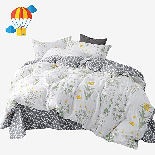 BuLuTu Twin Floral Bedding Cover Sets White for Girls,Reversible Arrow Grey Nature Garden Flower Twin Duvet Cover Set White Zipper Closure Soft Comforter Cover,No Comforter from BuLuTu