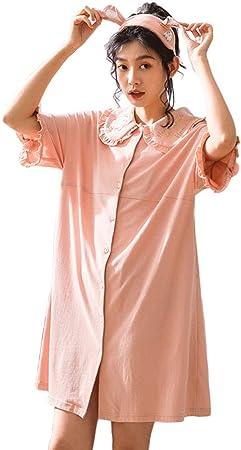 Easy Pijamas De Manga Corta Suelta De Las Mujeres Princesa Rosa Camisón Collar De La Muñeca Linda De Algodón Cardigan Hogar Ropa Camiseta Vestido (Color : Rosado, Tamaño : L): Amazon.es: Hogar