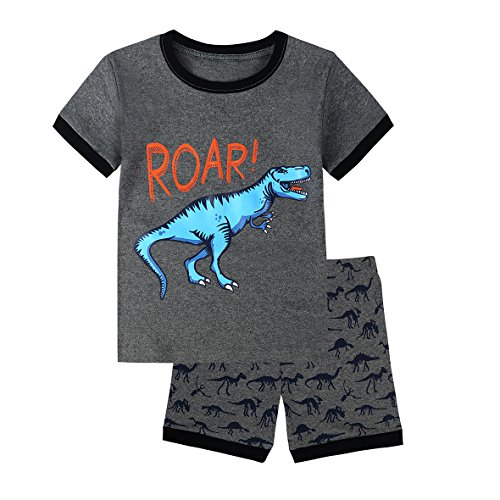 Skypiea&Co. Boys Pajamas Dinosaur 100% Cotton Toddler PJS Sets for Kids Size 2T-8/10 (Dino, 4) ()