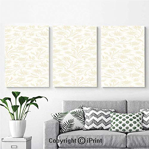 Canvas Prints Modern Art Framed Wall Mural Baroque Style Curved Leaves and Floral Blooms Artistic Nature Beauty Kitsch Design Motif for Home Decor 3 Panels,Wall Decorations for Living Room Bedroom D ()