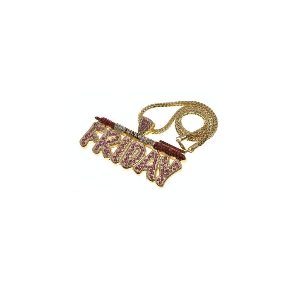 NICKI MINAJ BARBIE Pink Friday Pendant Chain Gold Pink/Red