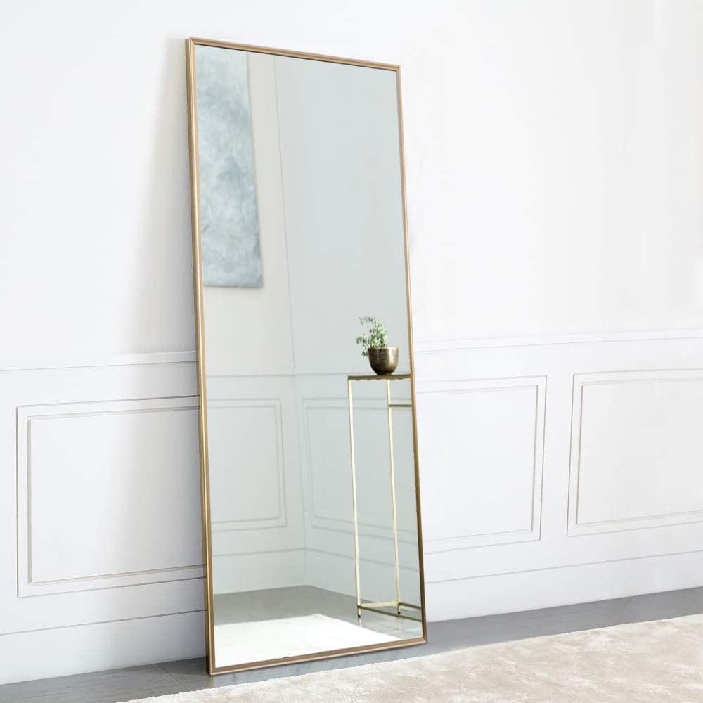 """NeuType Full Length Mirror Standing Hanging or Leaning Against Wall, Large Rectangle Bedroom Mirror Floor Mirror Dressing Mirror Wall-Mounted Mirror, Aluminum Alloy Thin Frame, 65""""x22"""""""