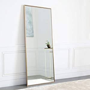 "NeuType Full Length Mirror Standing Hanging or Leaning Against Wall, Large Rectangle Bedroom Mirror Floor Mirror Dressing Mirror Wall-Mounted Mirror, Aluminum Alloy Thin Frame, 65""x22"""