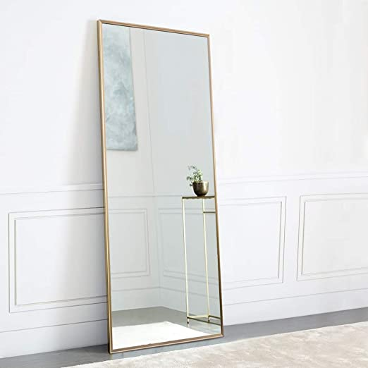 Amazon Com Neutype Full Length Mirror Standing Hanging Or Leaning Against Wall Large Rectangle Bedroom Mirror Floor Mirror Dressing Mirror Wall Mounted Mirror Aluminum Alloy Thin Frame 65 X22 Furniture Decor